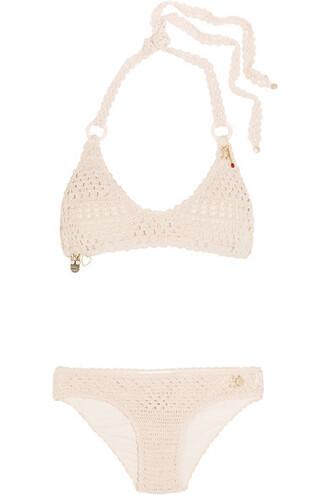 bikini pastel embellished cotton pink pastel pink swimwear