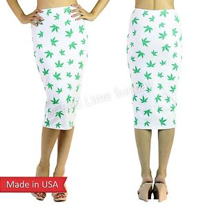 New White Cotton Pot Weed Marijuana Leaf Cannabis Print High Waist Pencil Skirt | eBay