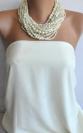 blouse strapless off-white