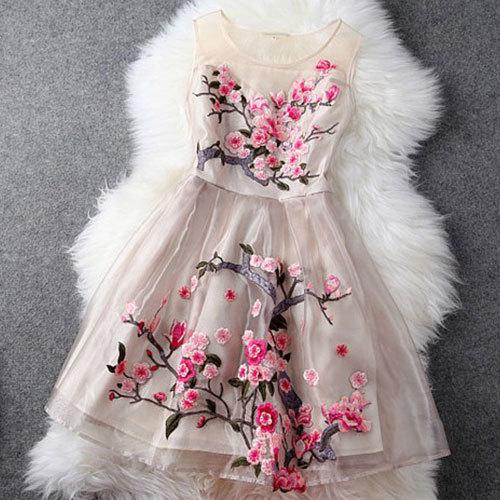 shego shopping mall — [grzxy6601015]Embroidery Flowers Sheer Ruffled Layered Evening Tank Dress
