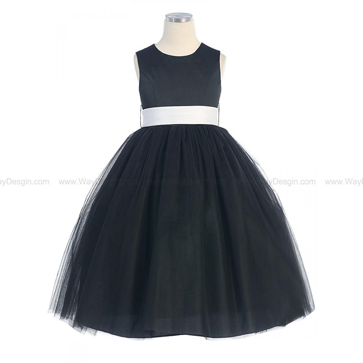 Black Satin Tulle Dress Removable Sash