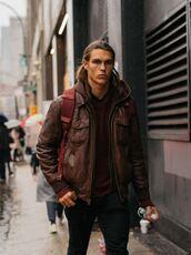 jacket,bomber jacket,fashion week 2016,streetstyle,brown,menswear,mens jacket,brown leather jacket,mens leather jacket