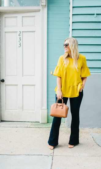 livingincolorprint blogger t-shirt blouse top bag sunglasses shoes handbag yellow top sandals givenchy bag fall outfits
