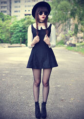 dress,black dress,boots,sunglasses,hat,black,peter pan collar,black and white dress,gothic lolita,shoes,jewels,jewelry,necklace,choker necklace,black choker,black velvet choker,peterpan collar,beige,white,cute,sweet,collar,grunge,black and white,cute dress,punk,punk dress,little black dress,goth dress,goth,gothic lolita dresses,tumblr,tumblr outfit,peter pan collar dress,hipster,girly,girl,top,collared dress,grunge dress,tumblr fashion,goth hipster,gothic dress,black gothic,gothic grunge,vintage,alternative