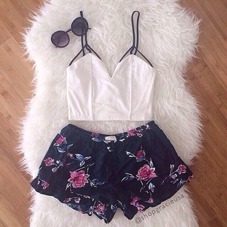 shorts white t-shirt t-shirt blouse floral tank top fashion style lookbook tumblr outfit glasses shirt sunglasses