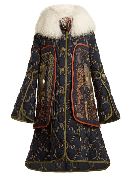 Peter Pilotto coat embroidered fur navy