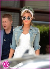 jacket,denim jacket,studs,demi lovato,dress,sunglasses