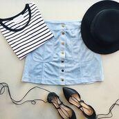 skirt,blue suede skirt,suede skirt,blue skirt,mini skirt,button up skirt,hat,black hat,ballet flats,flats,lace up flats,striped top,top