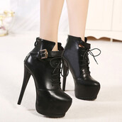 shoes,heels,high heels,sexy,sexy shoes,black,black shoes,black heels,black boots,lace up,lace up boots,platform lace up boots,amazing,gorgeous,cute,pretty,goth,fsjshoes