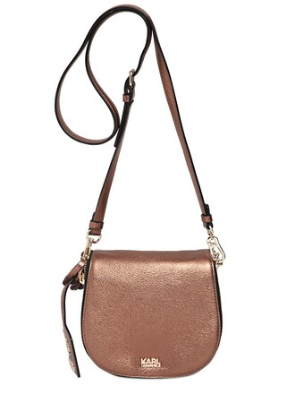metallic bag shoulder bag leather bronze