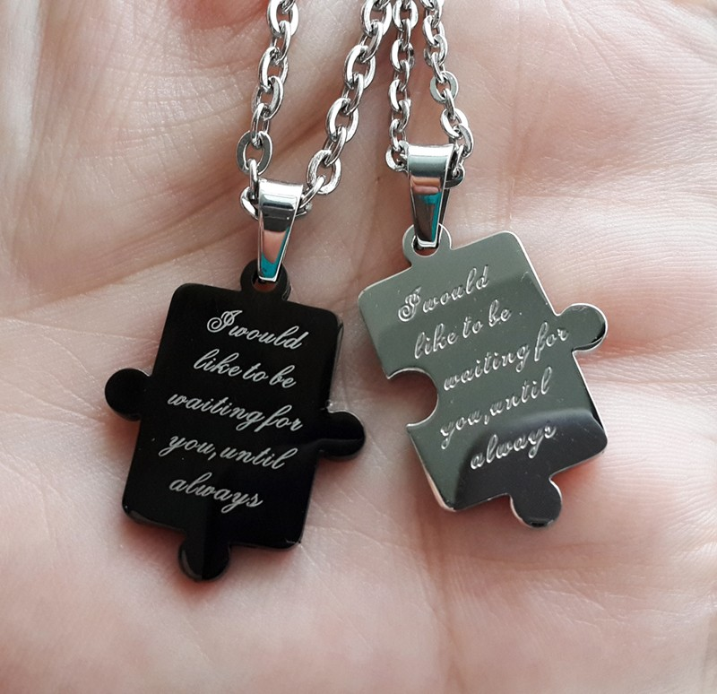 Jigsaw Puzzle Connecting His and Hers Pendants for 2 Personalized Couples Gifts | His Her Necklaces and Bracelets | Engraved Wedding Rings | Couples Clothing
