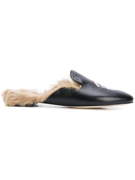 Chiara Ferragni fur fox women mules leather black shoes