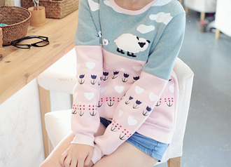 sweater lovely heart sweater oversized sweatshirt sheep cute delicate indie hip hipster flowers floral pink blue clouds heart oversized sweater pastel japanese