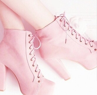 shoes pink laces heels pastel girly
