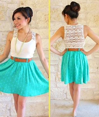 dress teal lace white pokadot pretty summer summer dress t-shirt perfection blue skirt blue dress blouse cute dress back lace mid length dress sleeveless dress top white top lace dress blue belt brown minty mint and lace