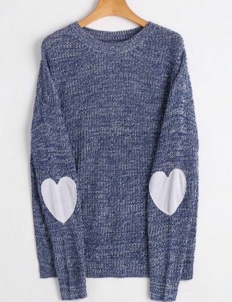 sweater girly blue sweatshirt jumper heart knitwear knit knitted sweater