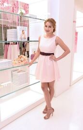 dress,sandals,baby pink,lauren conrad,blogger,pink dress,tank top,t-shirt,skirt,shoes