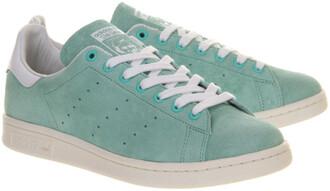 shoes stan smith adidas suede blue green mint sneakers