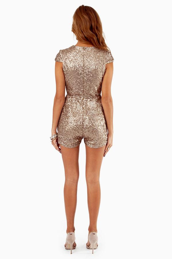 Gold deep v neck short sleeve sequined jumpsuit