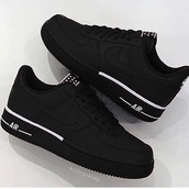 shoes,black,nike shoes,nike air,white sneakers,nike air force,black and white air  force 1,matte black,nike air force 1