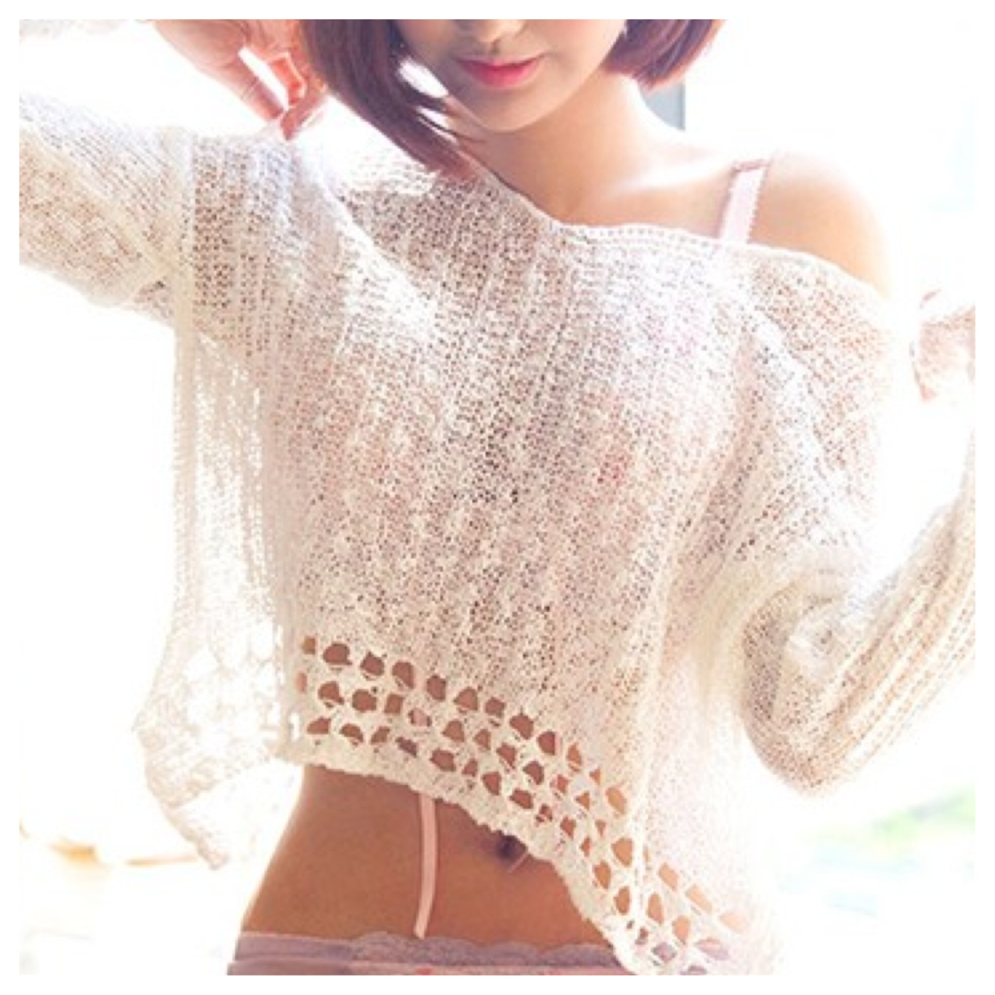 Cute crochet knit crop sweater/top from doublelw on storenvy