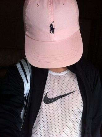 nike black and white polo light pink cap