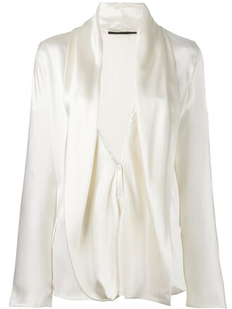 blouse draped nude top