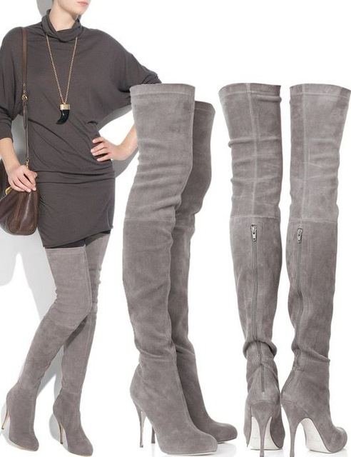 aa5e933e30e Online Shop Newest sexy over the knee boots high quality grey suede ...