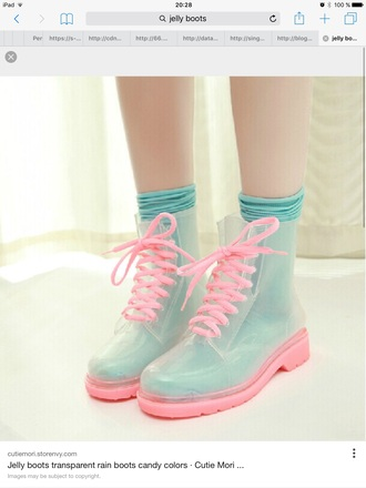shoes boots combat boots transparent pink transparent boots rain wellies