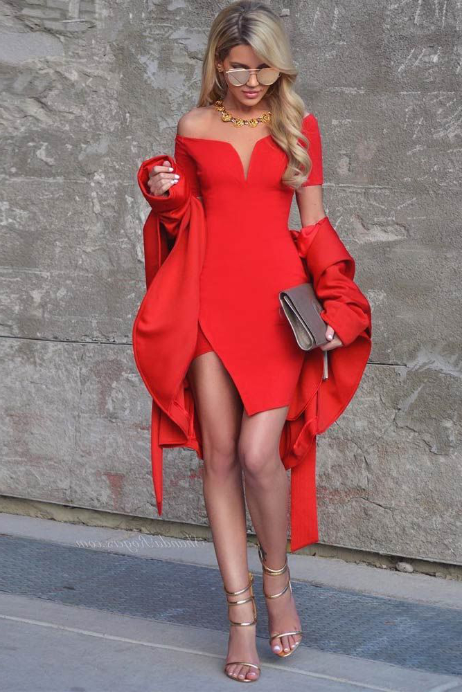 Short Sleeve Sweetheart Bardot Bandage Dress Red