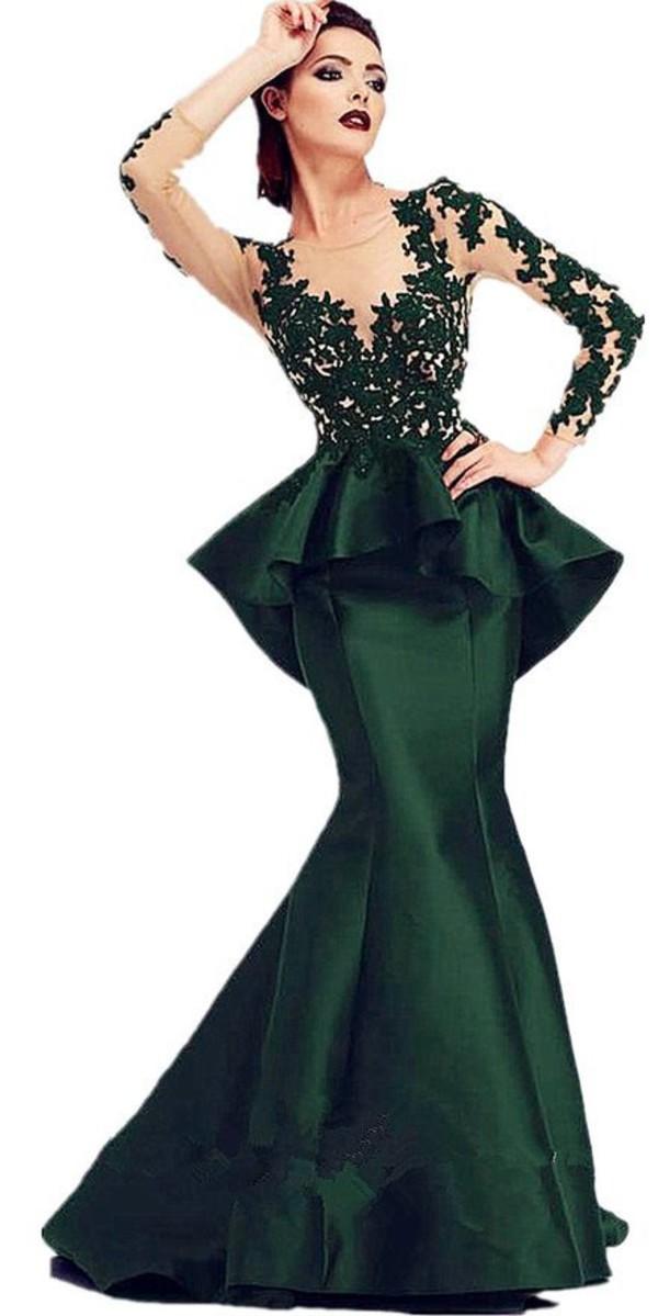 Black lace peplum dress long sleeve