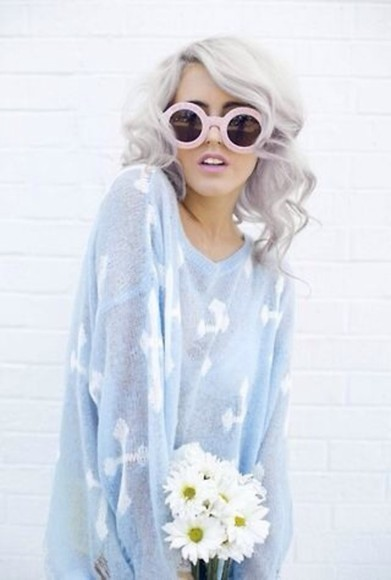 sweater large blue light thin cross see through cross sweater oversized sweater