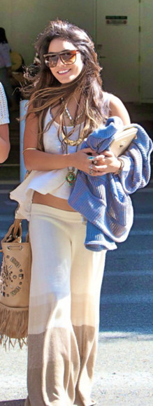 vanessa hudgens brown pants wide leg pants baggy pants boho indie white pants bag