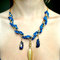Royal blue crochet/chain statement collar necklace with titanium quartz and feather charms