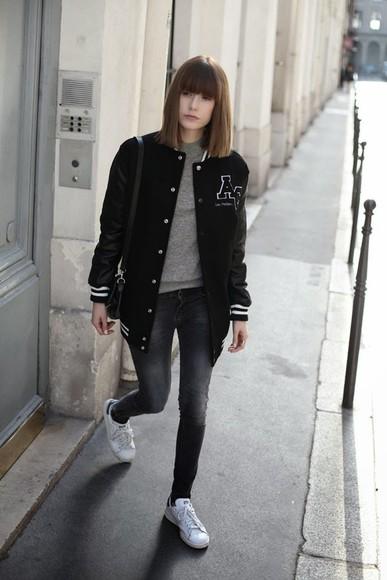 baseball jacket jacket blogger bag into your closet jeans