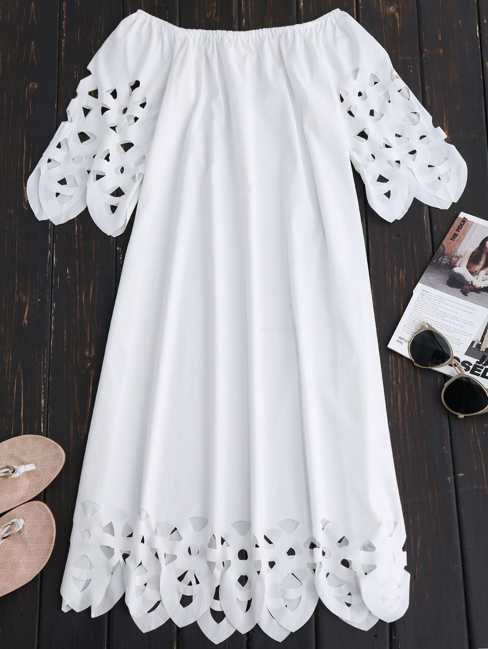 Zaful Off The Shoulder Flared Dress in white