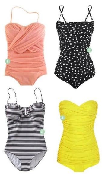 swimwear one piece swimsuit women's clothes summer polka dots