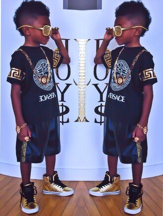 shirt guys toddler jewels fashion kids fashion swag gold black versace black and gold jewelry boys fashion kids with swag