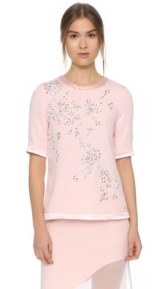 t-shirt shirt embroidered shell silk top