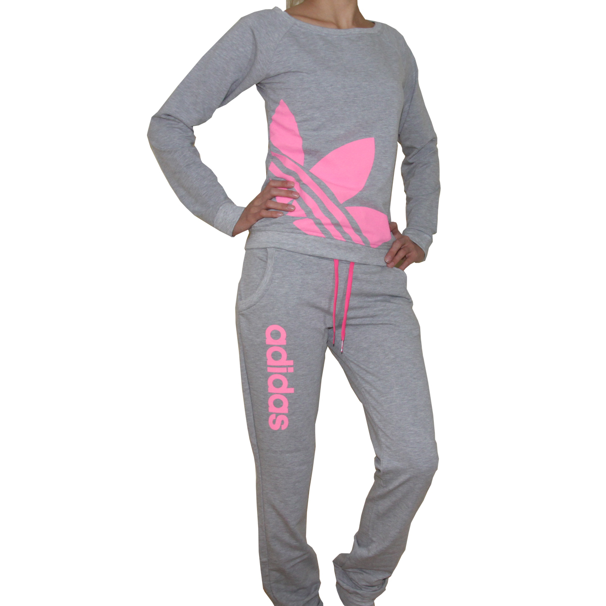 Adidas Neon Women Tracksuit Sweatsuit Track Pants Tops gray - Athletic Apparel