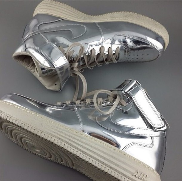 shoes nike shoes nike air nike air force 1 silver girly shoes