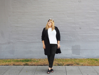 coat black coat plus size interview outfit curvy plus size plus size coat white top plus size top pants sandals sandal heels high heel sandals