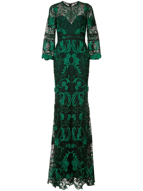 Marchesa Notte gown embroidered rose women green rose embroidered dress