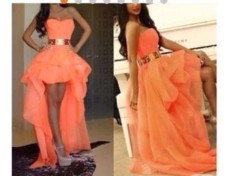 dress high low dress prom dress peach dress