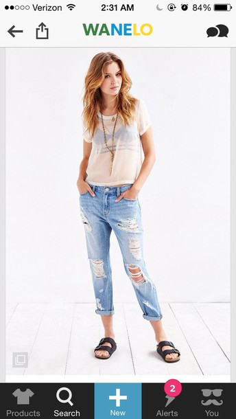 blouse shirt jeans boyfriend jeans ripped jeans