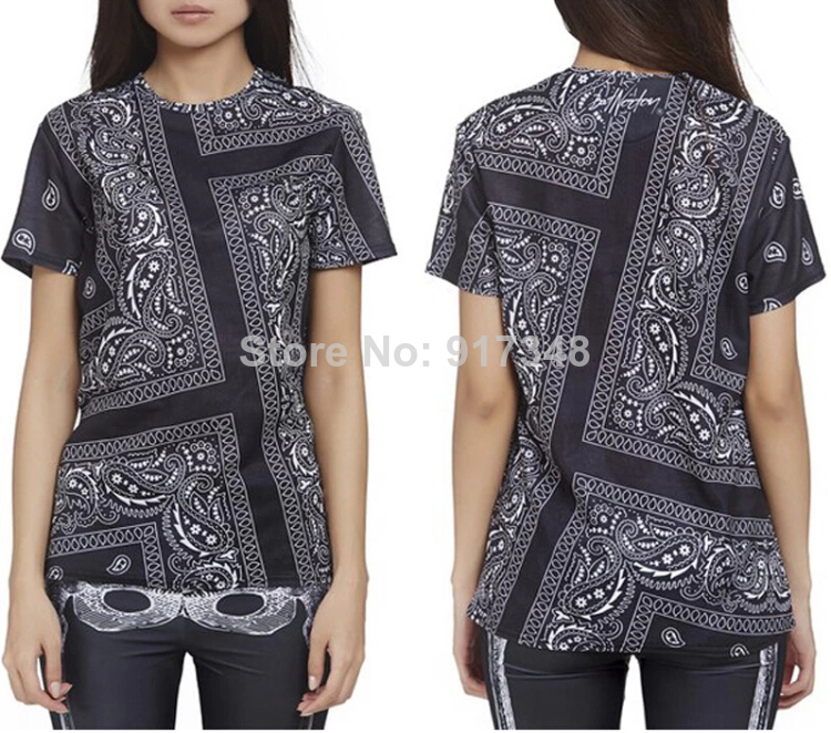 2014 Hot Sale Fashion Hip Hop Tees T Shirt La Rhude Bandana Print Tee Men Short sleeve T shirt Male shirt-in T-Shirts from Apparel & Accessories on Aliexpress.com