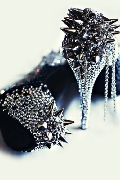 shoes metallic shoes high heels heels with spikes spikes bag
