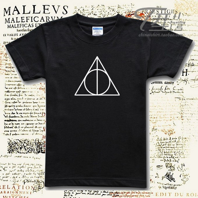 Harry Potter classic logo Death triangle symbol Originality design  men's 100% cotton Short sleeves  T shirt tee-in T-Shirts from Apparel & Accessories on Aliexpress.com