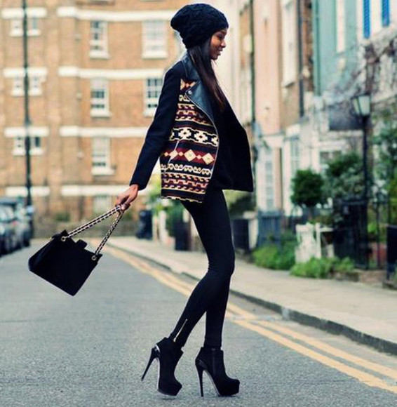 leggings jacket high heels tribal pattern hat