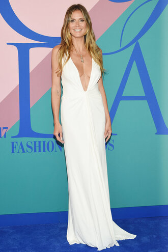 dress gown white white dress maxi dress heidi klum plunge dress wedding dress cfda